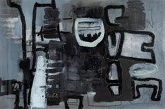 "22x30"" Night Rooms II  - Black, White Monochromatic Oil on Paper II"