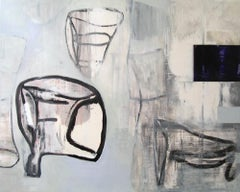 """48 x 60 in. """"For Helen"""" oil on canvas - black and white oil painting"""