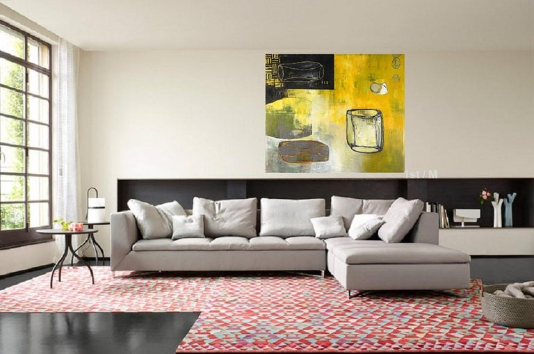 68 x 78 in. / 5.6 x 6.5 ft  oil on canvas abstract expressionist - Painting by Alexis Portilla