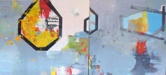 "48 x 104 in. / 4 x 8.6 ft (2 panel) ""Chromatic Fantasy"" Large Oil on Linen"