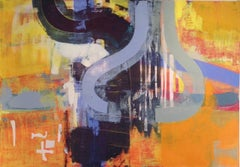 """56 x 76 in. / 4.6 x 6.3 ft """"Double Planet"""" Oil on Canvas"""