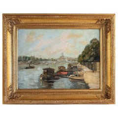 Alexis Vollon Oil on Canvas Bords de Seine à, Paris, Circa 1930