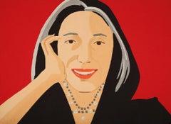 Ada - Portrait Print by Alex Katz, Ada, Red, Pearl Necklace, Portrait, Pop Art