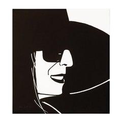 Black Hat (Ada), Portrait, Woodblock Print, Modern Realism, Pop Art