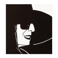 Black Hat (Ada), Portrait, Woodblock Print, Modern Realism, Pop Art