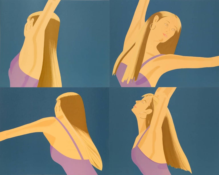 The complete Dunas Dance Suite of four lithographs by Alex Katz framed in natural wood.    Artist: Alex Katz, American (1927 - ) Title: Night: William Dunas Dance I - IV Year: 1979 Medium: Four Lithographs, each signed and numbered in