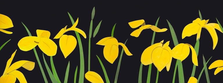"Yellow Flags 2 - 21st Century, Alex Katz Landscape Print, Black, Yellow, Flowers,   ""Yellow Flags 2"" is one of Alex Katz's famous flower prints. His flowers are the most reduced forms of landscape paintings, which are a big part in his complete"