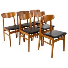 Alf Aarseth Midcentury Danish Teak Cats Eye Dining Chairs, Set of 6