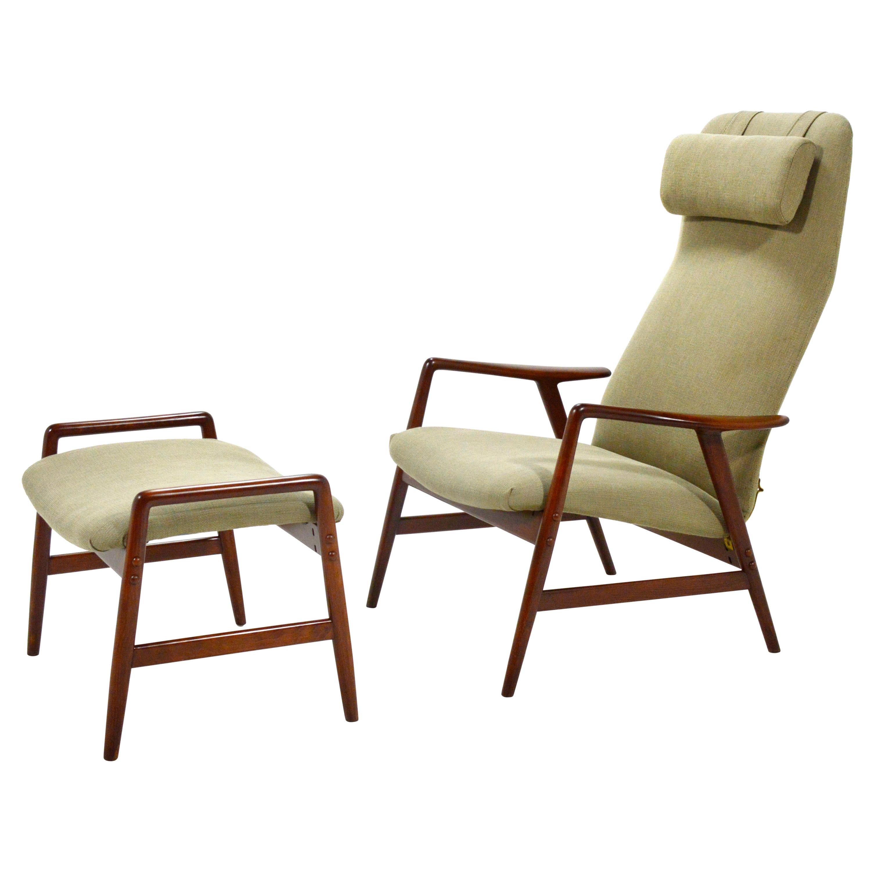 Alf Svensson Kontour Reclining Lounge Chair and Ottoman