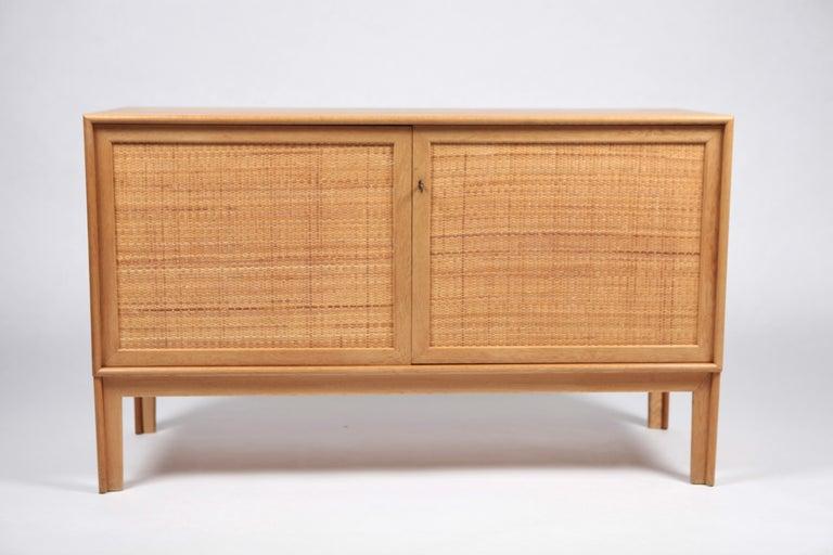 Scandinavian Modern Alf Svensson, Sideboard in Oak and Rattan, Sweden, 1960s For Sale