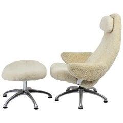Alf Svensson Swivel Chair with Ottoman in Off-White Sheepskin