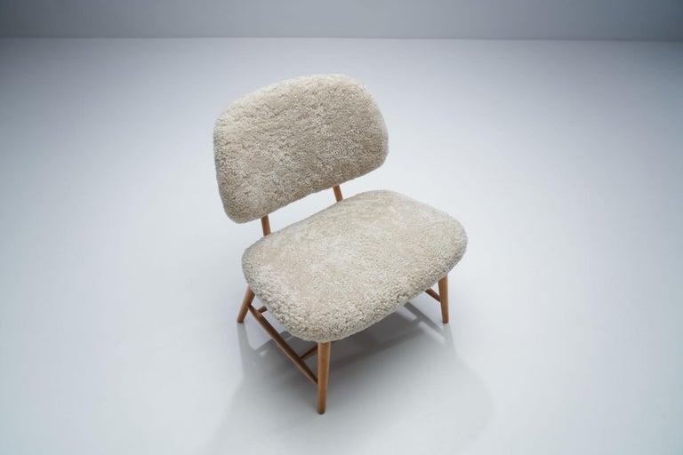 "Sheepskin Alf Svensson ""TeVe"" Chair for Studio Ljungs Industrier AB, Sweden, 1950s For Sale"