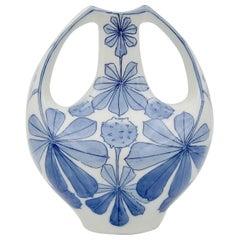 Alf Wallander for Rörstrand of Sweden Blue and White Art Nouveau Vase