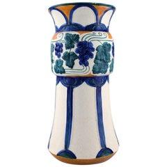 Alf Wallander for Rorstrand /Rörstrand, Large Art Nouveau Vase in Glazed Faience