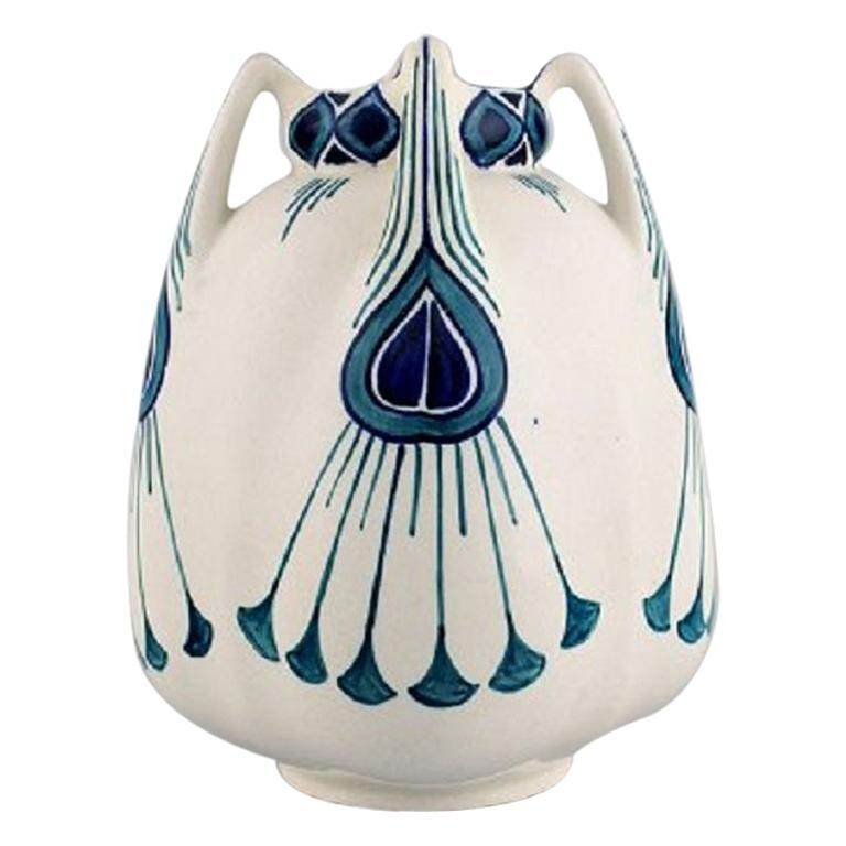 Alf Wallander for Rörstrand, Vase with Four Handles in Hand Painted Ceramics