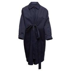 Alfa Perro Navy Front Tie Long Coat