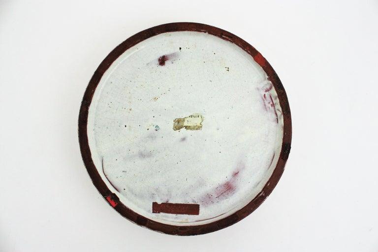 Clay Alfaraz Spanish Glazed Ceramic Clock Design Round Large Ashtray, 1960s For Sale