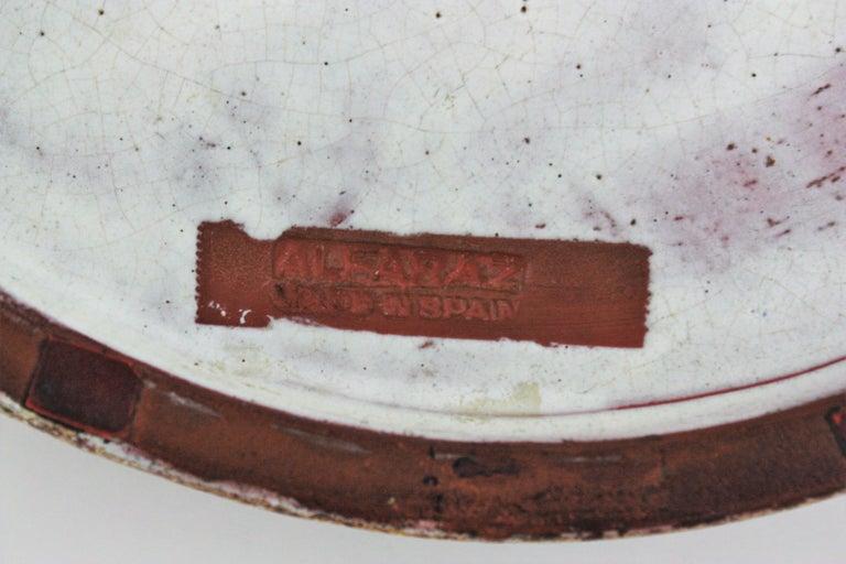 Alfaraz Spanish Glazed Ceramic Clock Design Round Large Ashtray, 1960s For Sale 1
