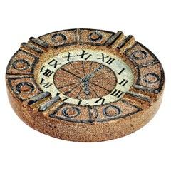 Alfaraz Spanish Glazed Ceramic Clock Design Round Large Ashtray, 1960s