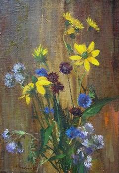 Bouquet with cornflower. 1990, oil on canvas, cardboard, 50,5x35 cm
