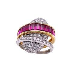 Alfieri & St. John 18KT. Yellow & White Gold Ring with 3.95Ct. Rubies & Diamonds