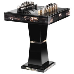 Alfio Chess Table in Corno Italiano and Glossy Black Lacquered Wood, Mod. 3244