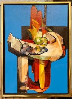 Modernist Italian Oil Painting Abstract Still LIfe Fruit Grapes, Alfio Rapisardi