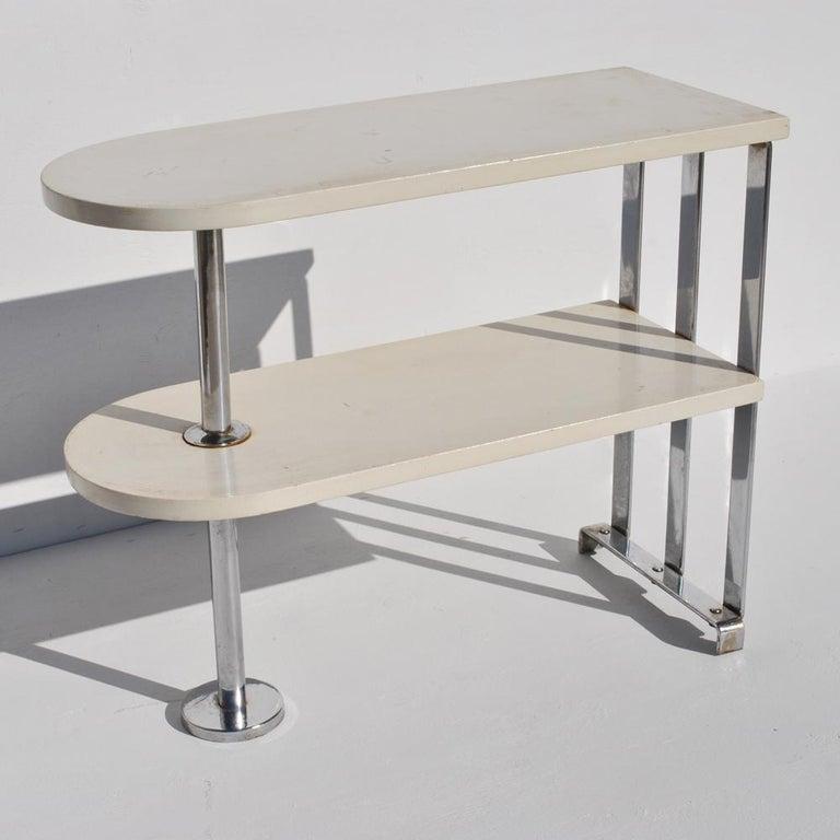 Chrome Alfons Bach For Lloyd Loom Art Deco Side Table Shelf
