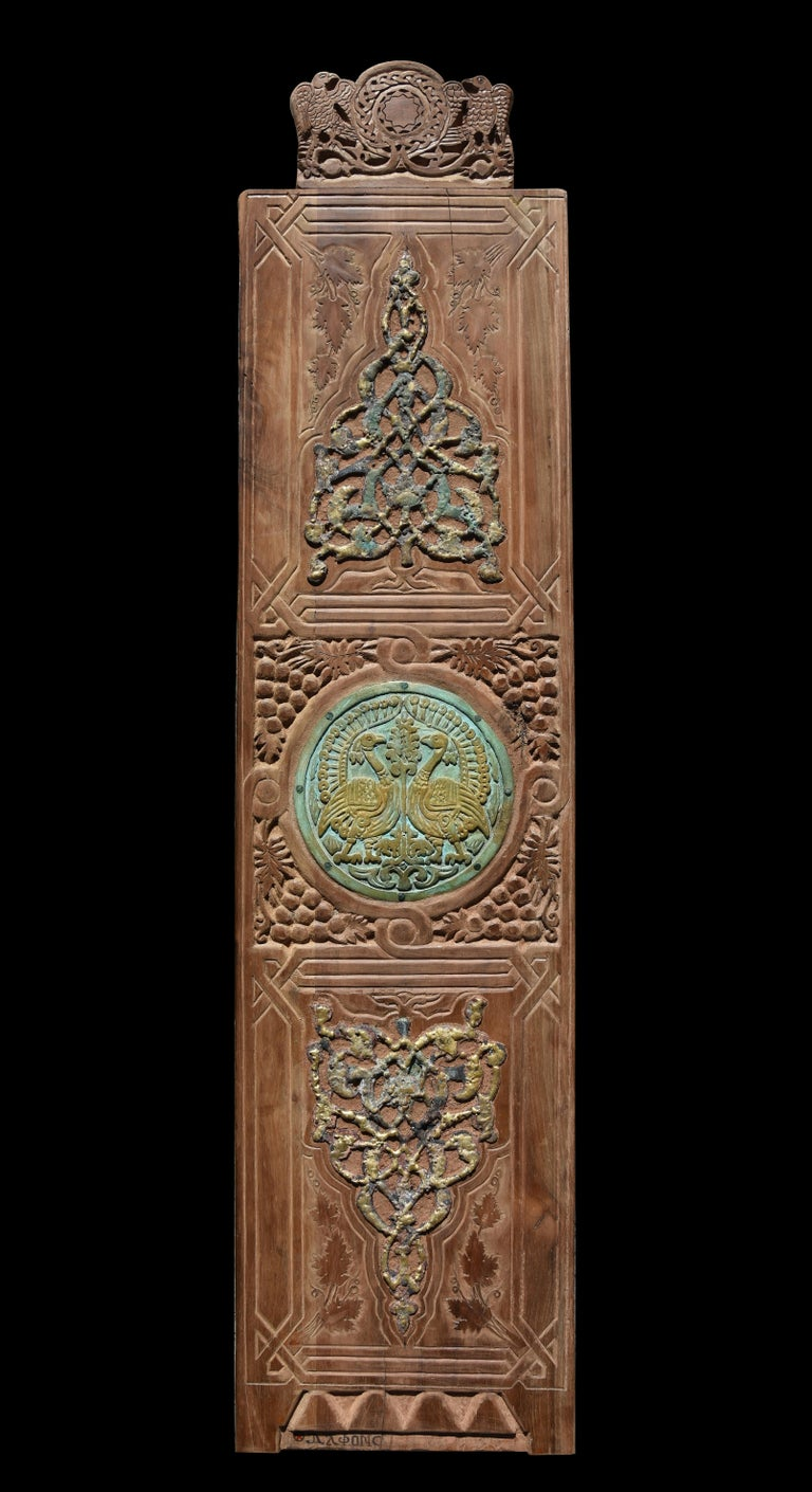 """""""Encounter"""" Mixed media work on wood 58"""" x 14"""" inch by Alfons Louis  """"Old Turk Walnut Wood with Bronze using Floral & Animal Elements of Coptic & Andalusian & Islamic Arts""""  ABOUT THE ARTIST Born in Cairo 1959- Graduated from faculty of fine art"""