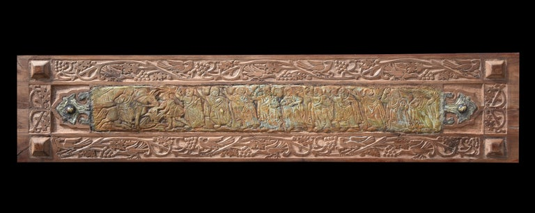 """""""Peace"""" Mixed media work on wood 13"""" x 59"""" inch by Alfons Louis  Wooden works with Mixed Media (Bronze)  ABOUT THE ARTIST Born in Cairo 1959- Graduated from faculty of fine art (painting) Alexandria. In 1982 – Member of plastic art Egypt, member of"""