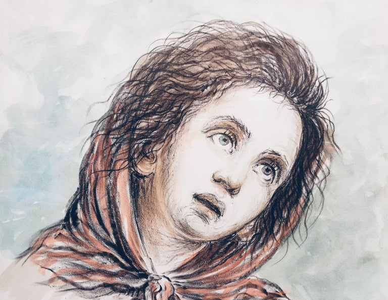 CHILD - Alfonso Grassi Pastel on paper  Portrait italian Painting For Sale 1