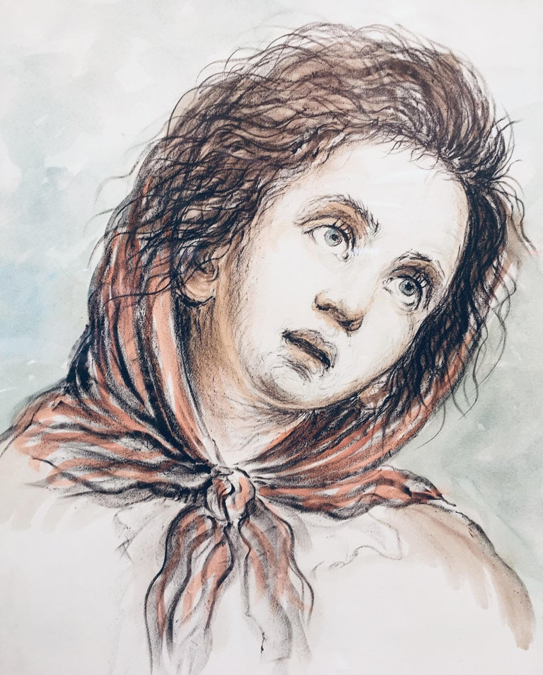 CHILD - Alfonso Grassi Pastel on paper  Portrait italian Painting For Sale 2