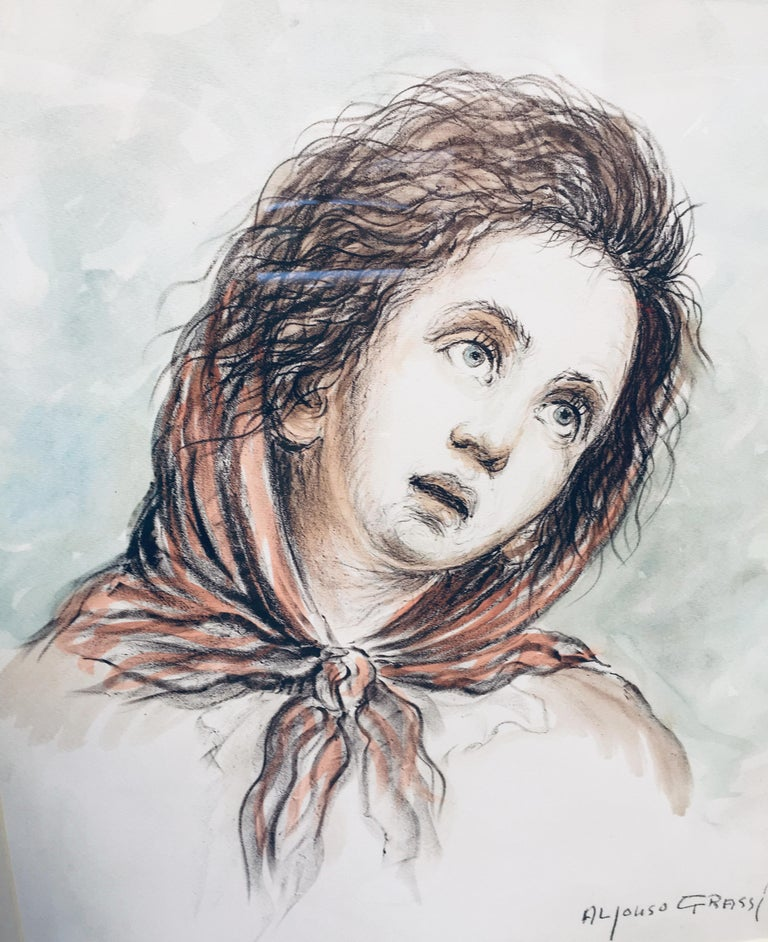 CHILD - Alfonso Grassi Pastel on paper  Portrait italian Painting For Sale 5
