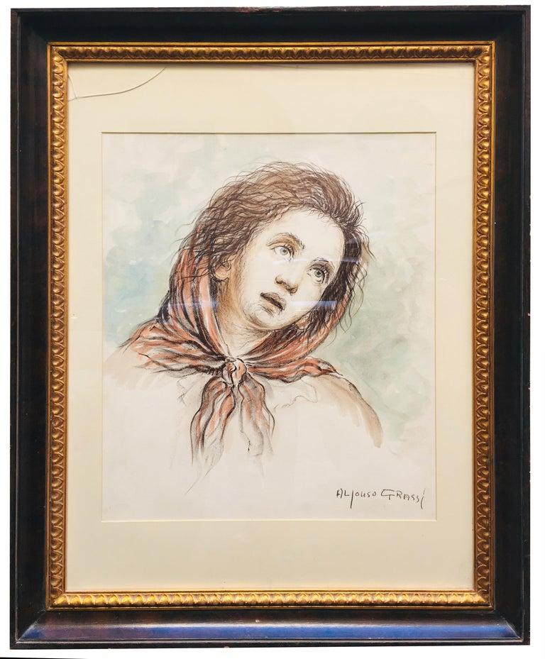CHILD - Alfonso Grassi Pastel on paper  Portrait italian Painting - Beige Portrait Painting by Alfonso Grassi