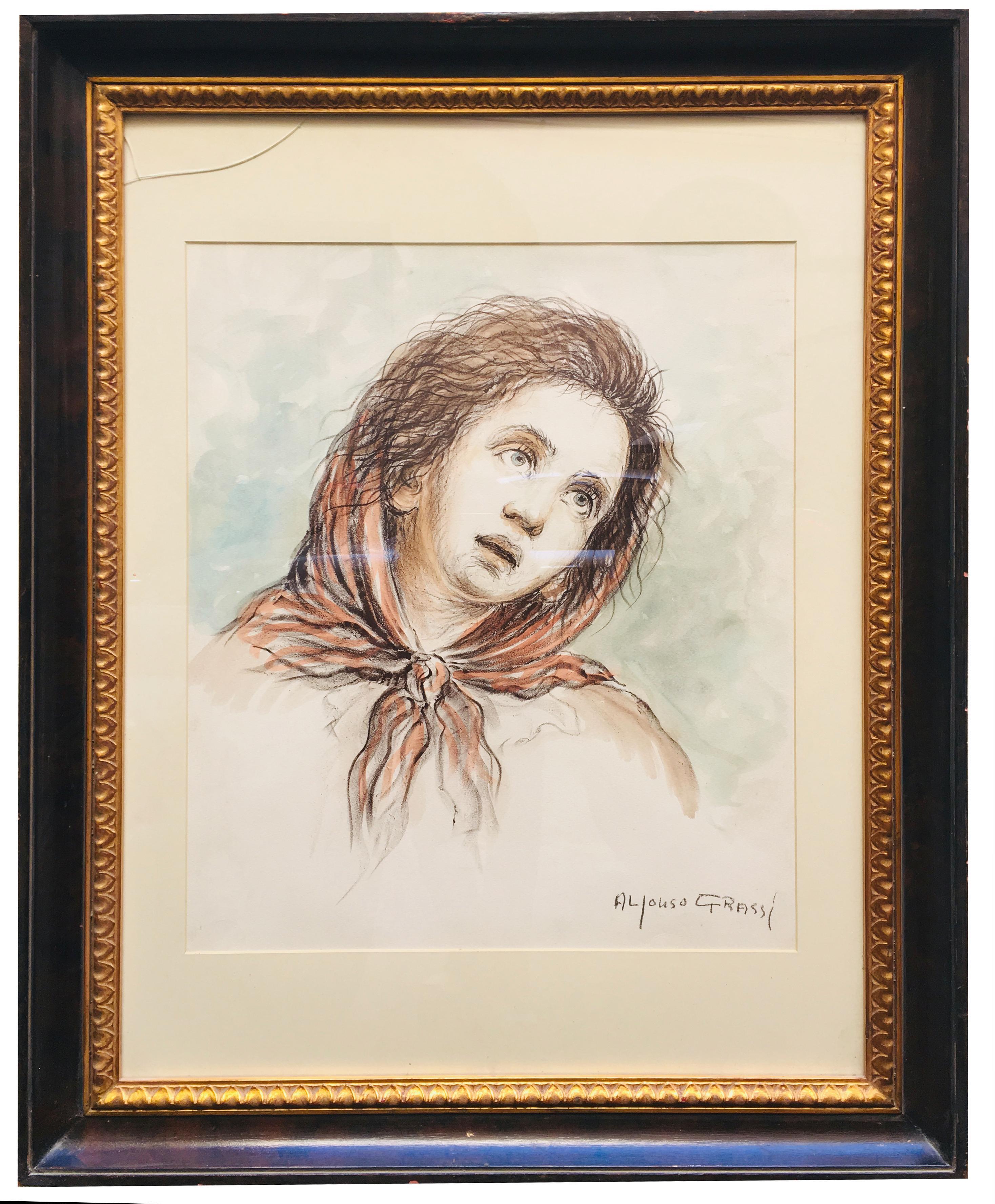 CHILD - Alfonso Grassi Pastel on paper  Portrait italian Painting