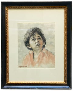 CHILD - Alfonso Grassi Watercolor on paper  Portrait italian Painting