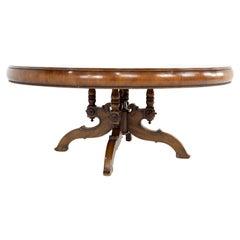 Alfonso Marina Contemporary Round Banding Mahogany Dining Table