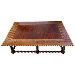 Alfonso Marina Dutch Colonial Inlay Coffee Table with Spool Legs