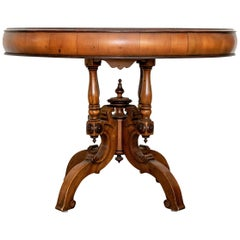 Alfonso Marina Mexican Craftsman Carved and Banded Center Table