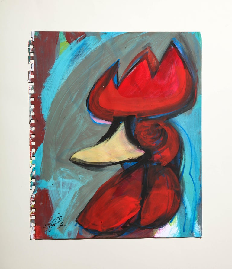 Contemporary painting 'Rooster II' (Rooster Collection) by Alfonso Muñoz For Sale 1