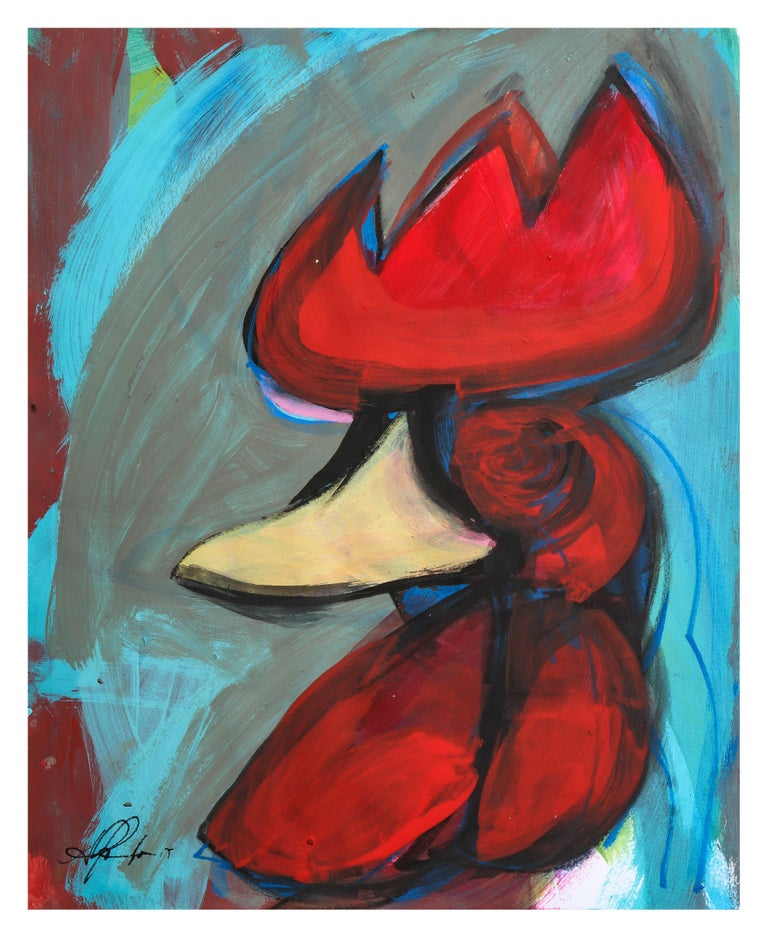 Painting of a rooster in an expressionist style, painted in dynamic colors and cubist lines.  One of five paintings from Muñoz 'Rooster Collection'. The Artist was influenced by Picasso and was under the tutelage of Roger Capron, his