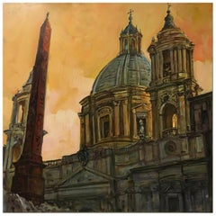 Church in Rome - Italian oil on canvas painting, Alfonso Pragliola