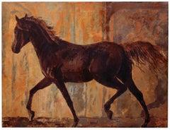 CRAZY HORSE - Italian Animalia Oil on Cnavas Painting by Pragliola