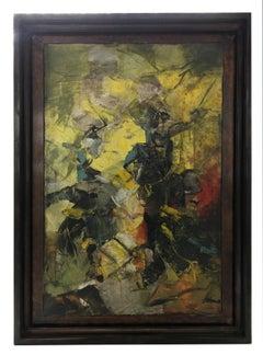FIGHTING ON HORSEBACK - Italian abstract oil on canvas painting. A. Pragliola