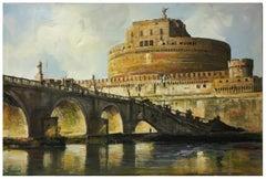 ROME SANT'ANGELO CASTEL Italian oil on canvas painting, Alfonso Pragliola
