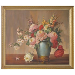 "Alfonso Toran ""Floral Still Life"" Original Oil Painting, circa 1950"