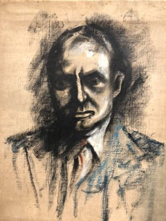 British Modernist Portrait of Chaim Weizmann President of Israel Oil Painting