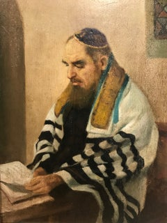 Portrait Painting of Rabbi Studying attributed to Alfred Aaron Wolmark