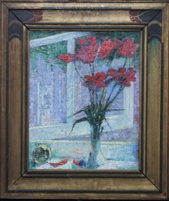 Red Tulips - 20thC century Jewish art Post Impressionist floral oil painting