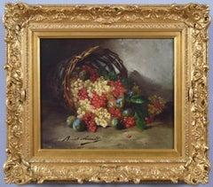 19th Century still life oil painting of fruit